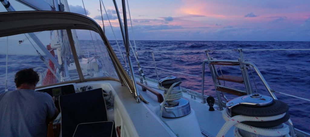 Close reaching into the night north of the BVI