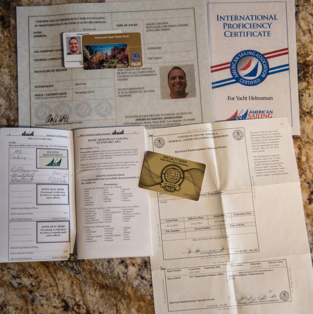 An Assortment of Sailing Credentials