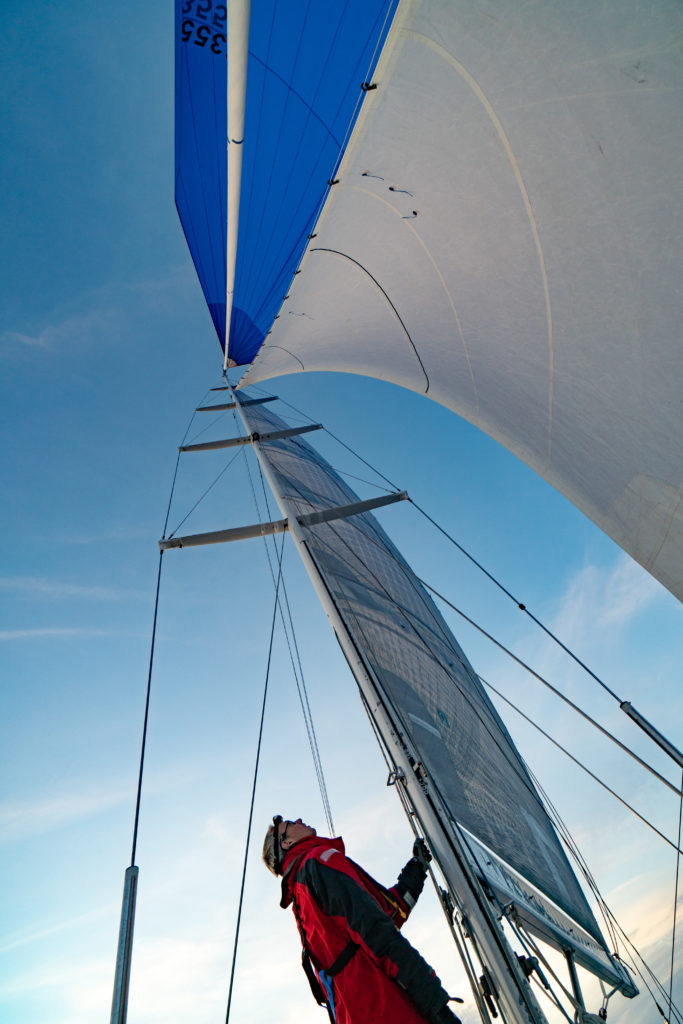 Checking the sails offshore on a Baltic 55